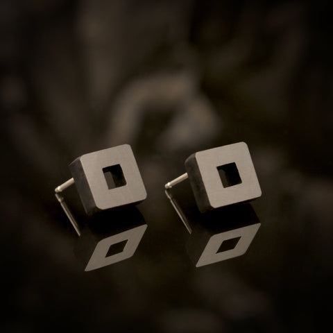 Owey - Small square wooden studs in black - handmade in Ireland by Irish jewellery designer Rowena Sheen