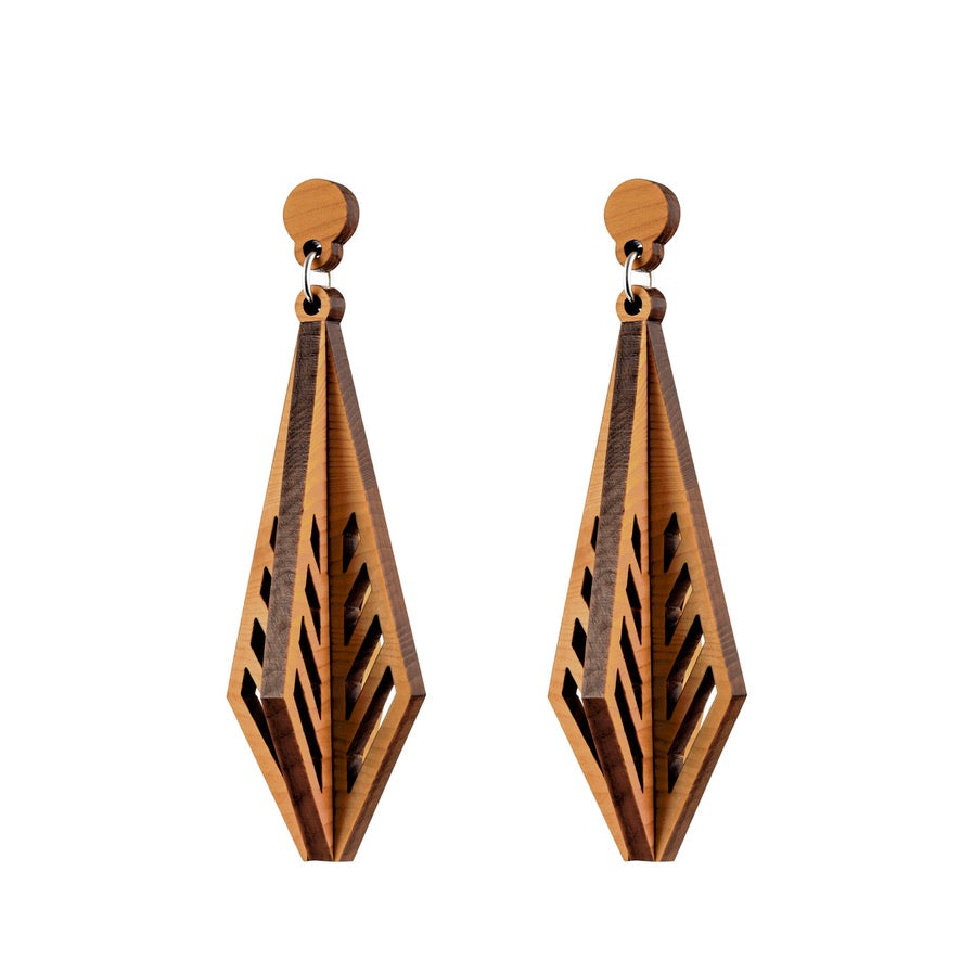 Shiraz - Architectural Large Wooden Pendant Earring - Handmade in Ireland by Irish Jewellery Designer Rowena Sheen s