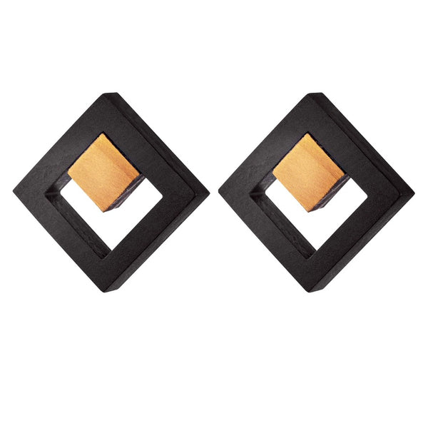 Tuskar - Geometric wooden square stud earrings in black - Handmade Irish wooden jewellery by Rowena Sheen