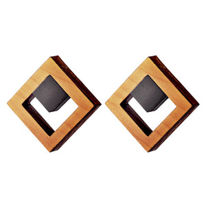 Tuskar - Geometric wooden square stud earrings  - Handmade Irish wooden jewellery by Rowena Sheen