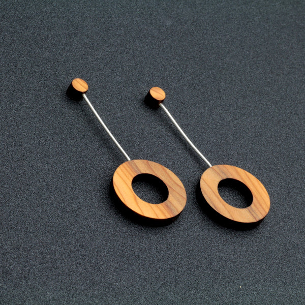 Calder Earrings - Contemporary Irish Handmade Jewellery in wood and sterling silver.
