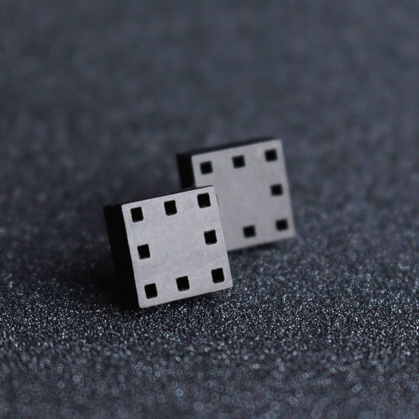 Squares - Geometric Black Stud Earrings - Irish made Jewellery by designer Rowena Sheen