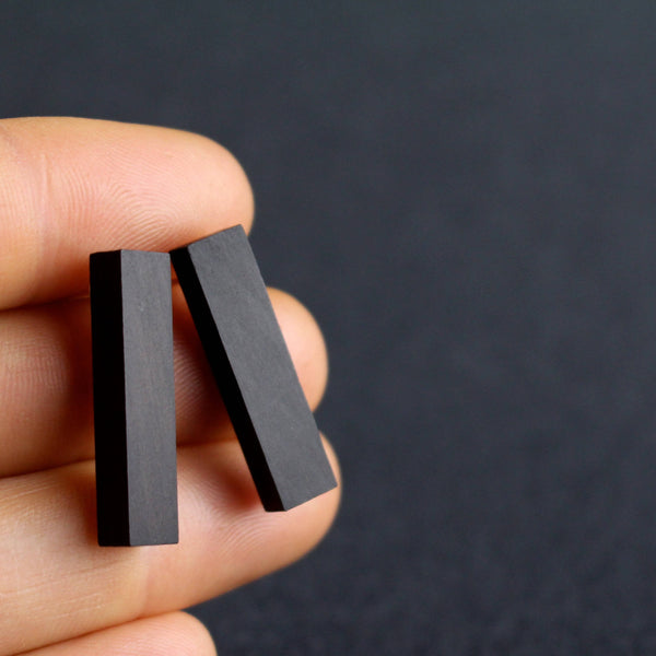 Rectangles - Long rectangular wooden studs in black - Handmade in Ireland by Irish Jewellery Designer Rowena Sheen