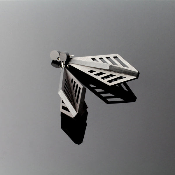 Shiraz - Architectural Large Wooden Pendant Earring in black  - Handmade in Ireland by Irish Jewellery Designer Rowena Sheen s