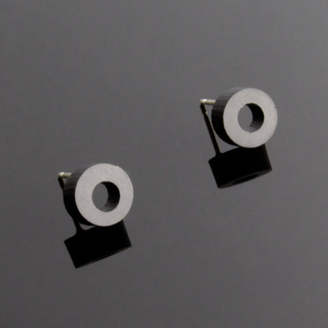 Mini-O - Small hoop shaped wooden stud earrings in black - handmade in Ireland by Irish jewellery designer Rowena Sheen
