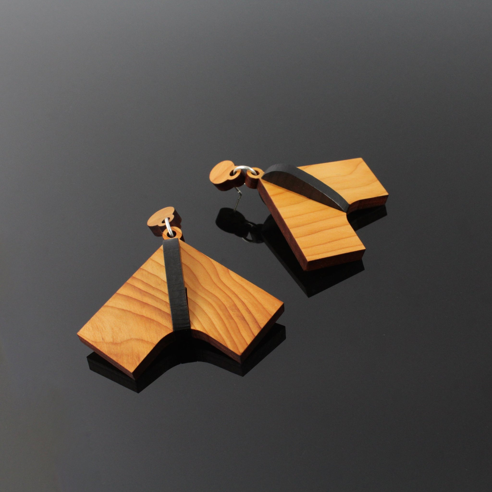 Manta - Handmade in Ireland - Large Pendant Earrings in Wood and Silver