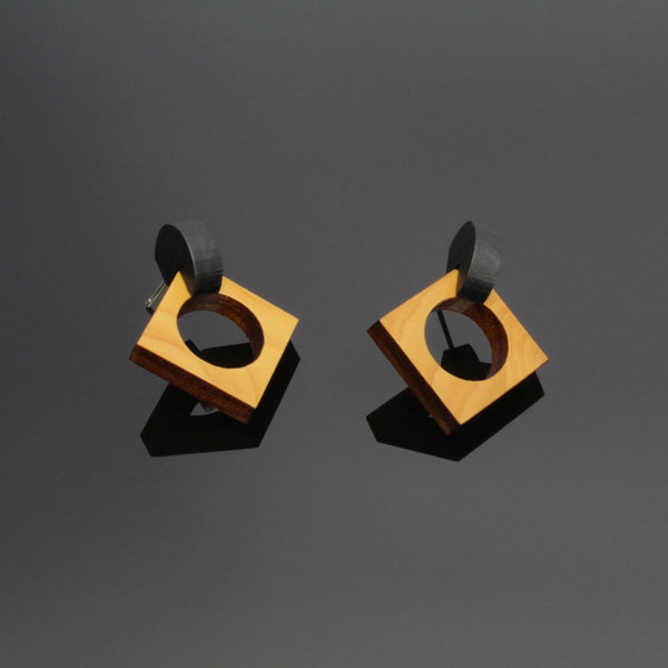 Cernu - Oversize Geometric studs in wood and sterling silver. Made in Ireland