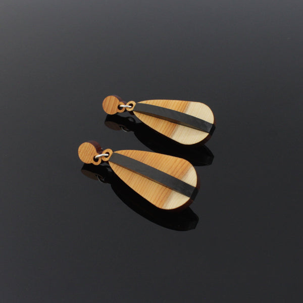Fand - Handmade in Ireland - Pendant earrings in wood and silver