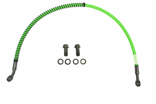 Motorcycle brake line stainless steel cable green