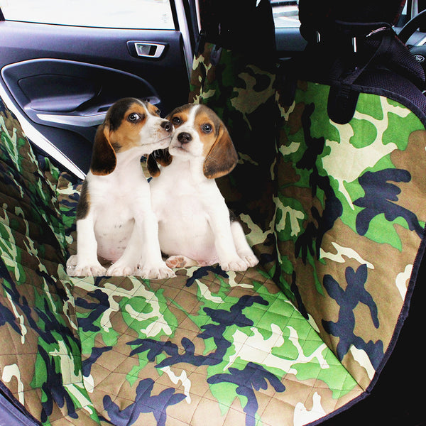 two dogs in car seat cover
