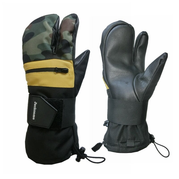 Men's Ski Gloves Sports Waterproof Snowboard Leather