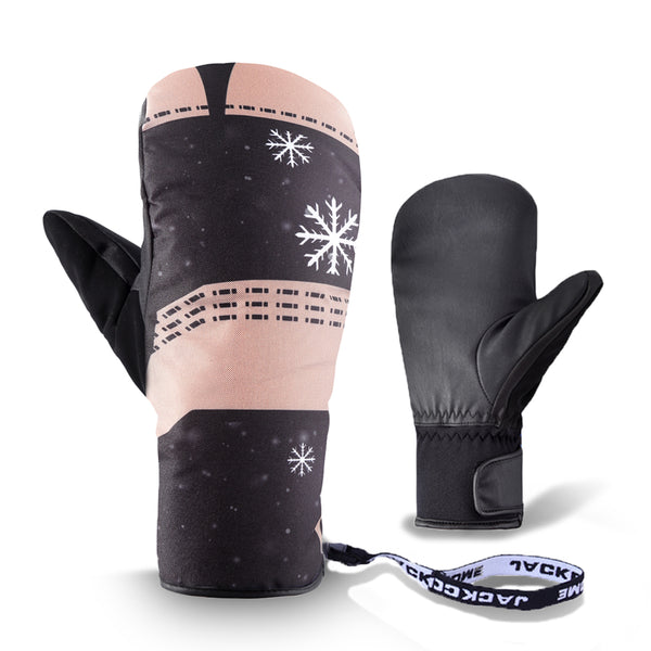 pink women snow gloves