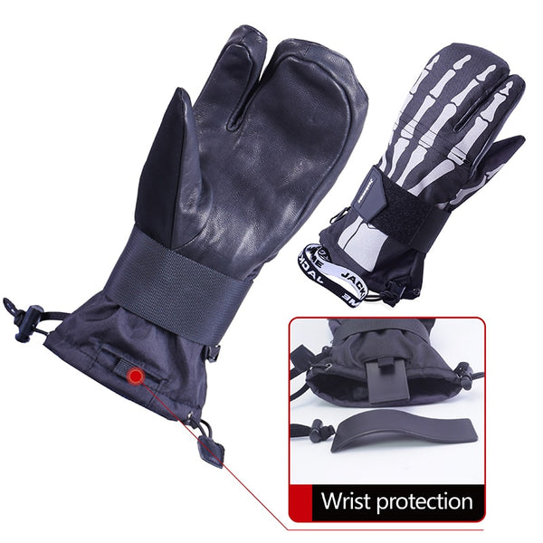 Mens Snowboard Skiing Waterproof Windproof Out Sports Leather Mittens Gloves