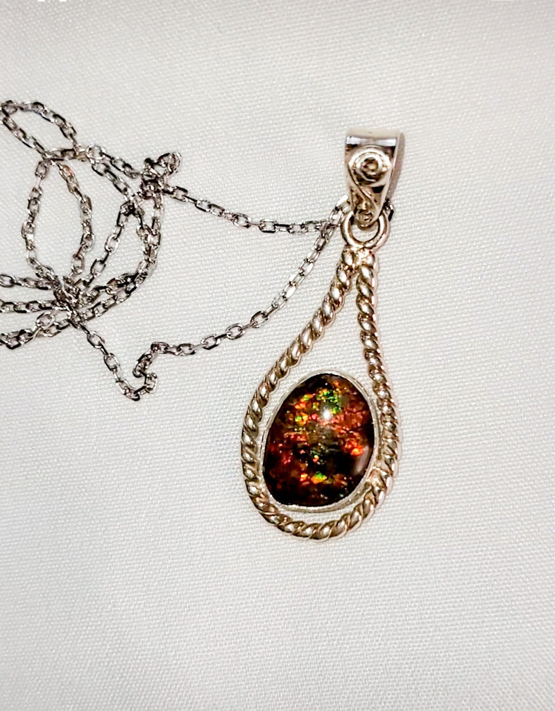 Ammolite and Sterling Silver Necklace
