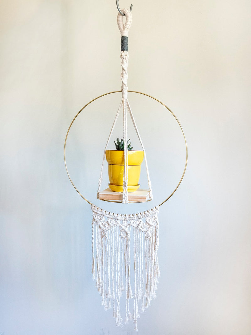 Hoop Macrame Plant Hanger with Wood Shelf