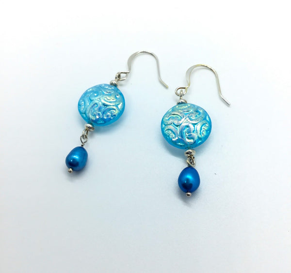 Textured Blue Opal Glass Button Beads and Pearl Drop Earrings