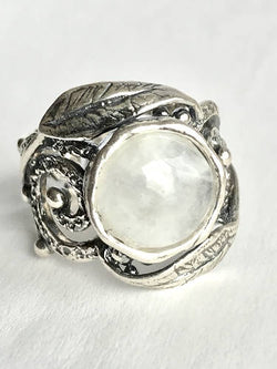 The Cycle of Life - Handmade Sterling Silver Ring with Moonstone