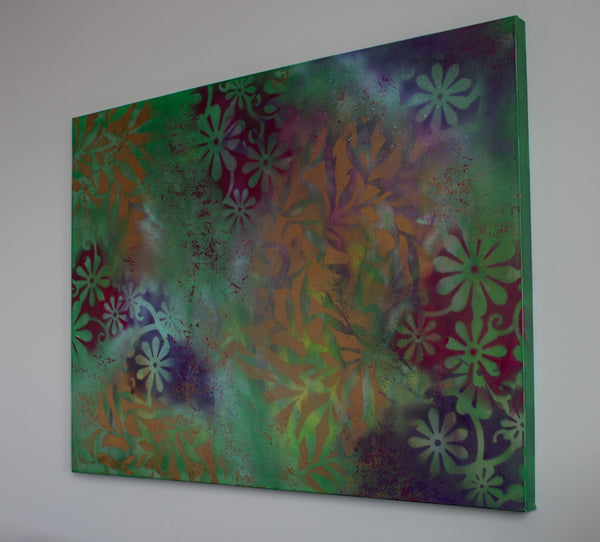 "Acrylic on Canvas, ""Floral Twist"" by Chayle Marie"