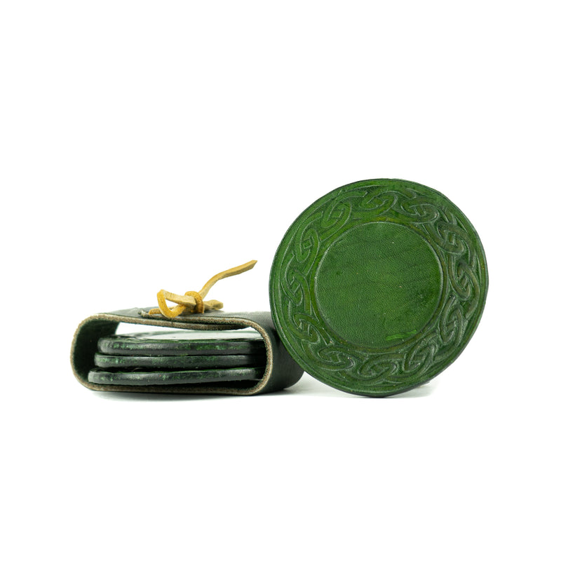 Leather Celtic Border Forest Green Coasters