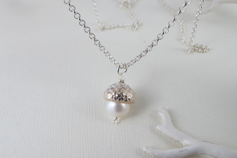 Silver Acorn and Pearl Necklace