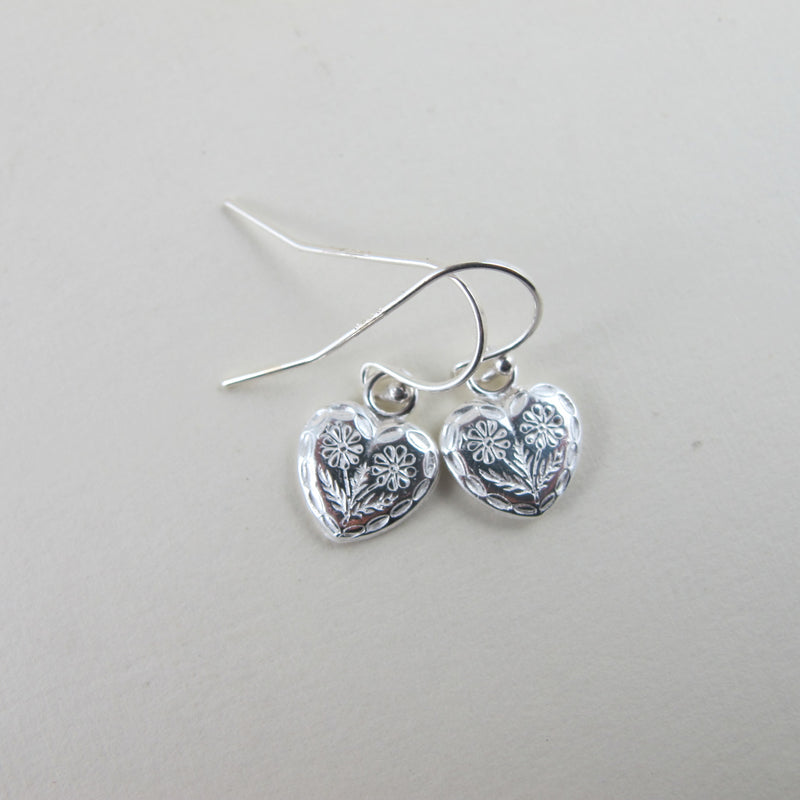 Heart Button Earrings