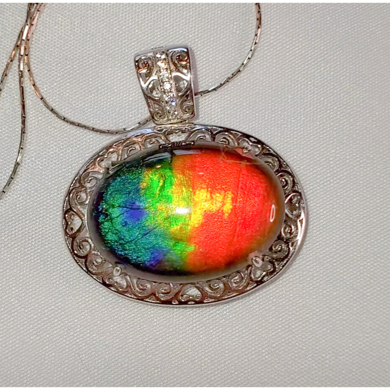 Large Oval Ammolite Necklace