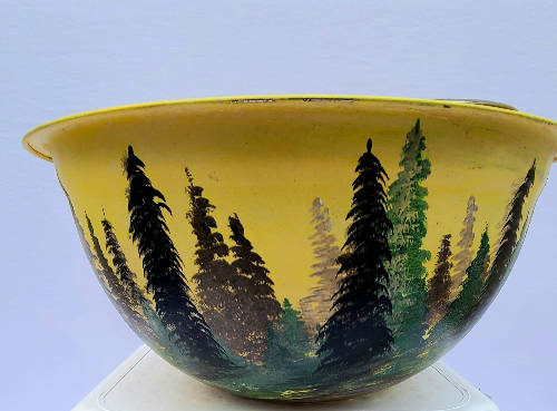 "Hand painted decorative pot ""Bright Morning"" by Bruce Stanton (12 inches wide by 6 inches high.)"