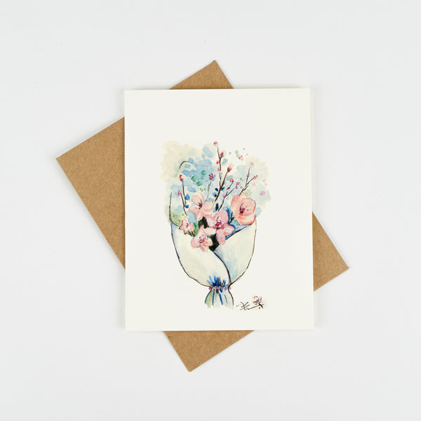 Cherry Blossoms Bouquet Greeting Card