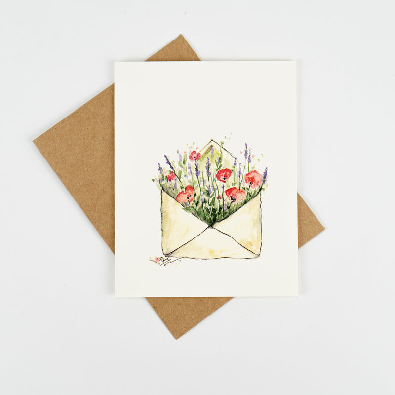 Poppy and Lavender Greeting Card