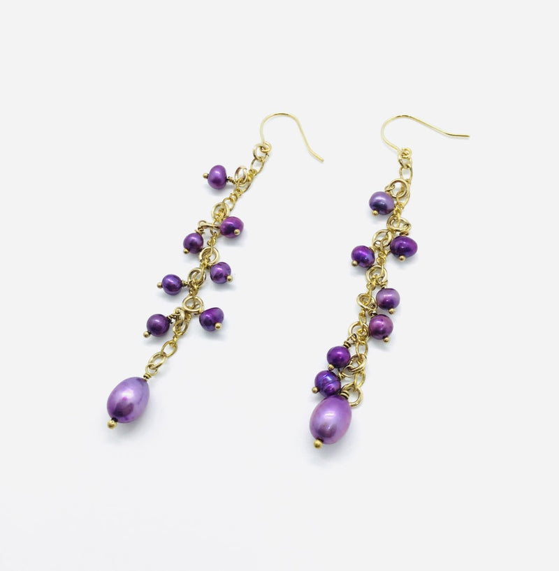 Freshwater Purple Pearl Raindrop Earrings