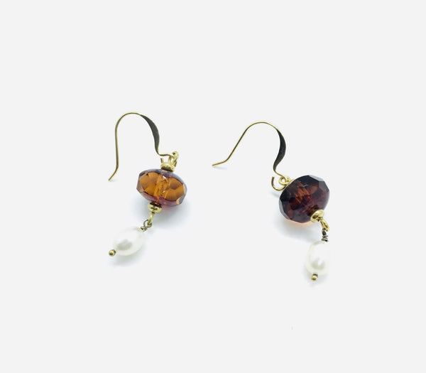 Faceted Amber Crystal and Pearl Drop Earrings