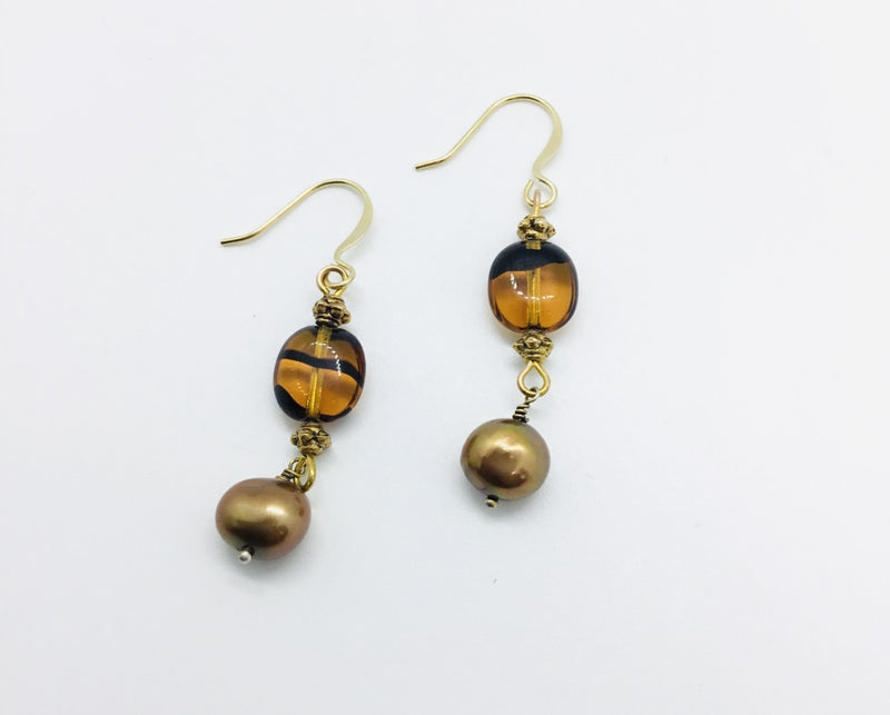 Amber and Black Glass Bead, Pearl Drop Earrings