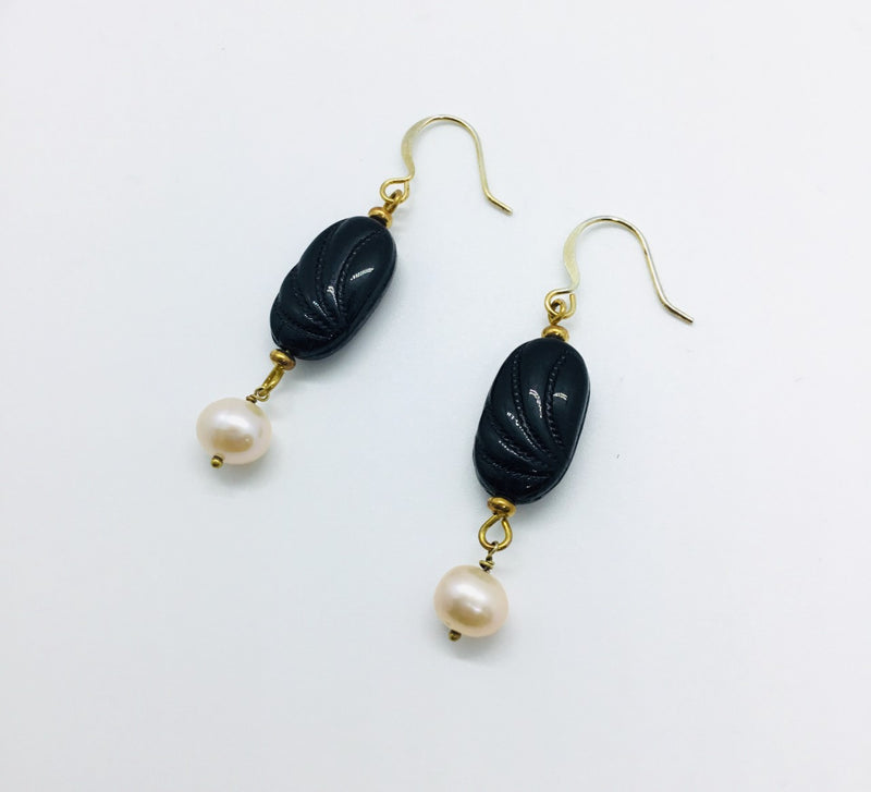 Black Venetian Glass Bead and White Pearl Drop Earrings