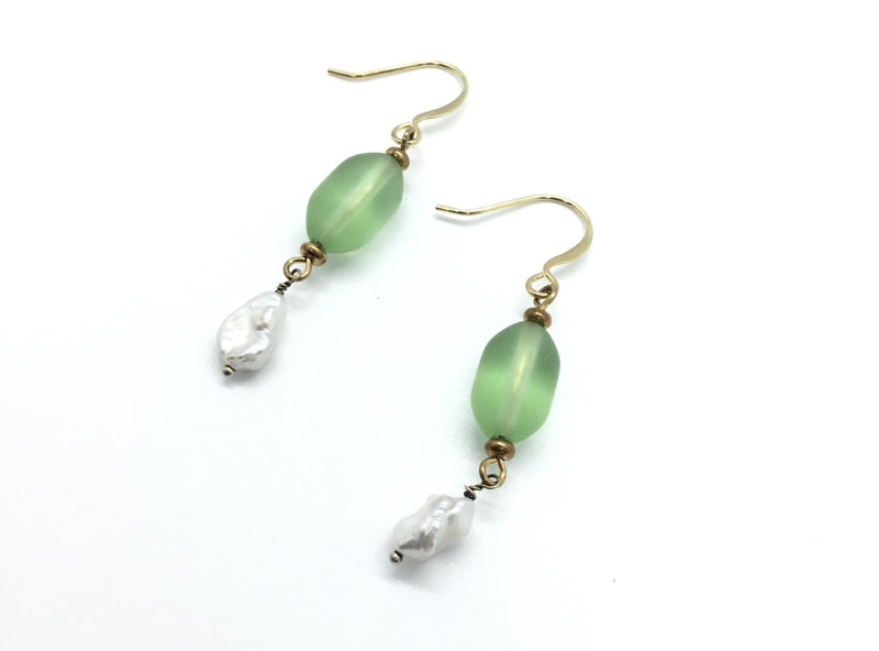 Green Frosted Glass Bead and Pearl Drop Earrings