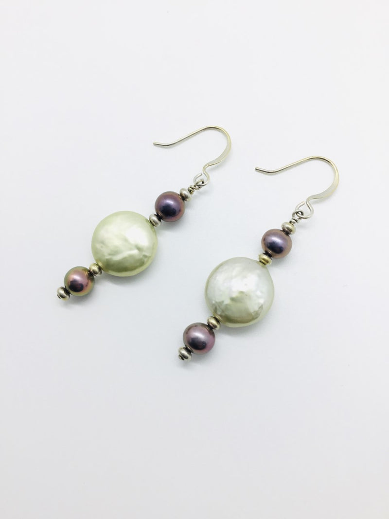 Green Button Bead and Mauve Pearl Earrings