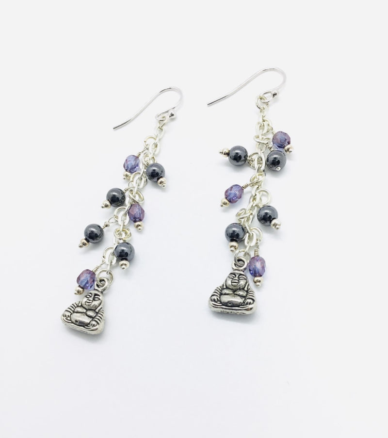 Purple Crystal and Hematite Raindrop Earrings