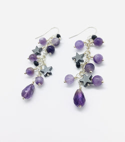 Amethyst, Hematite and Crystal Raindrop Earrings