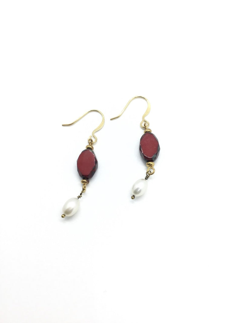 Red Murano Glass Bead and Pearl Drop Earrings