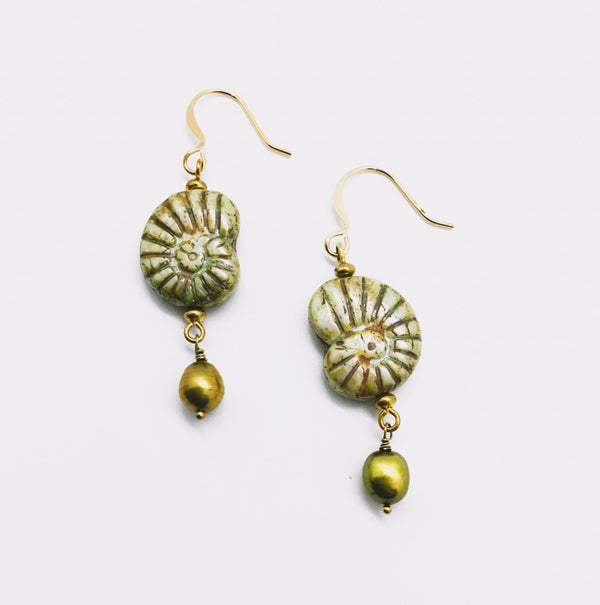 Green Glass Nautilus Bead and Pearl Drop Earrings