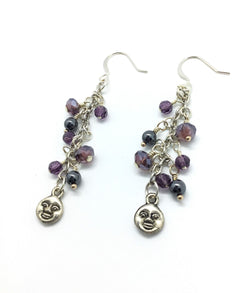 Purple Crystals and Hematite and Moon Raindrop Earrings