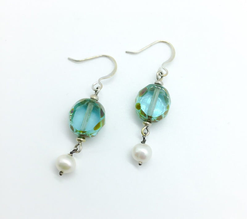 Faceted Blue Venetian Glass and Pearl Drop Earrings