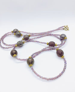 Purple Japanese Glass Bead Necklace