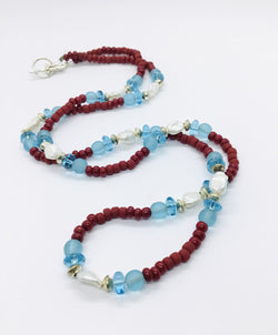 Red and Blue Glass Bead Necklace