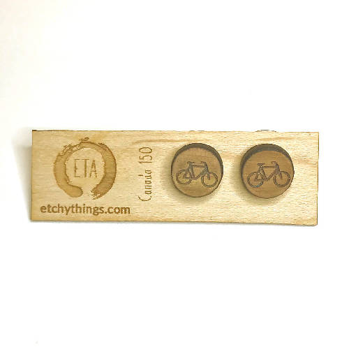 Engraved Bicycle Earrings
