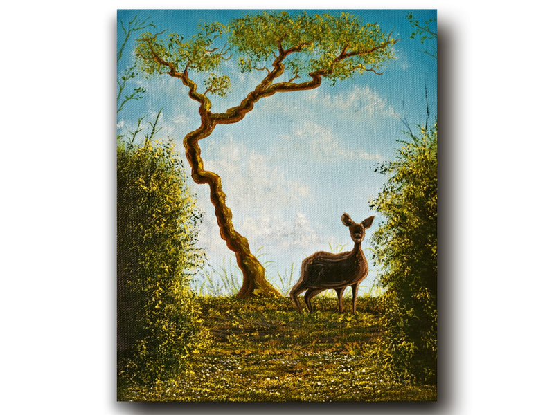 The Surprise Deer Encounter Oil on Canvas