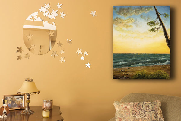 BC Beaches with Pacific Ocean Waves at Sunset Oil on Canvas
