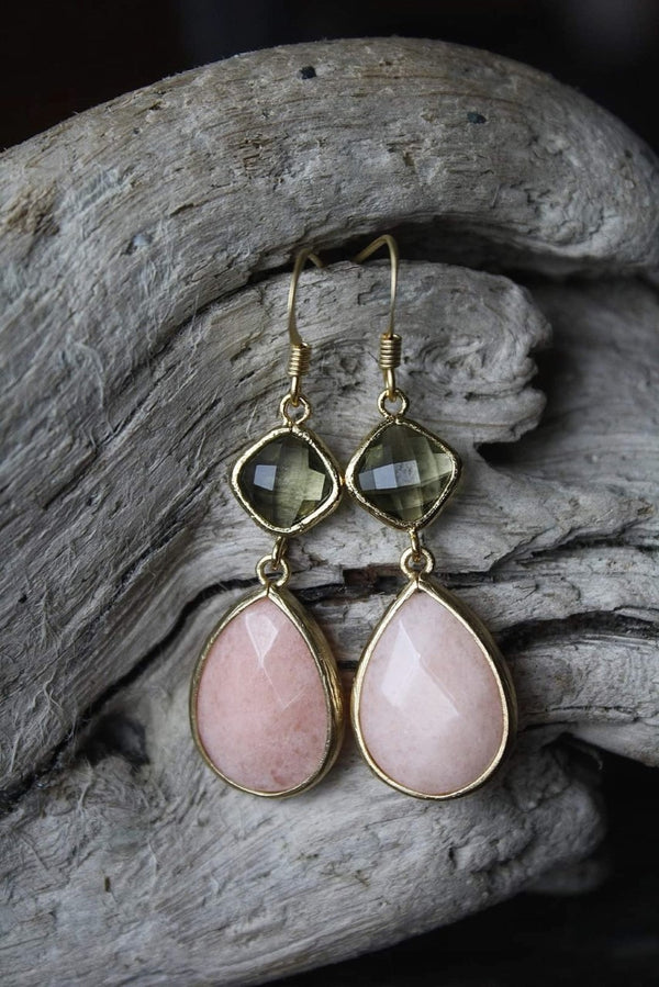 Olive and Peach Earrings