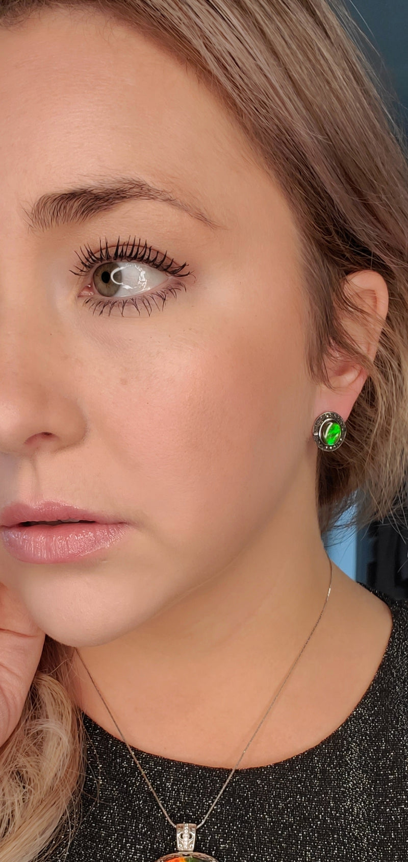 Ammolite and Sterling Silver Earrings