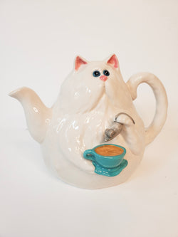 White Kitty Teapot