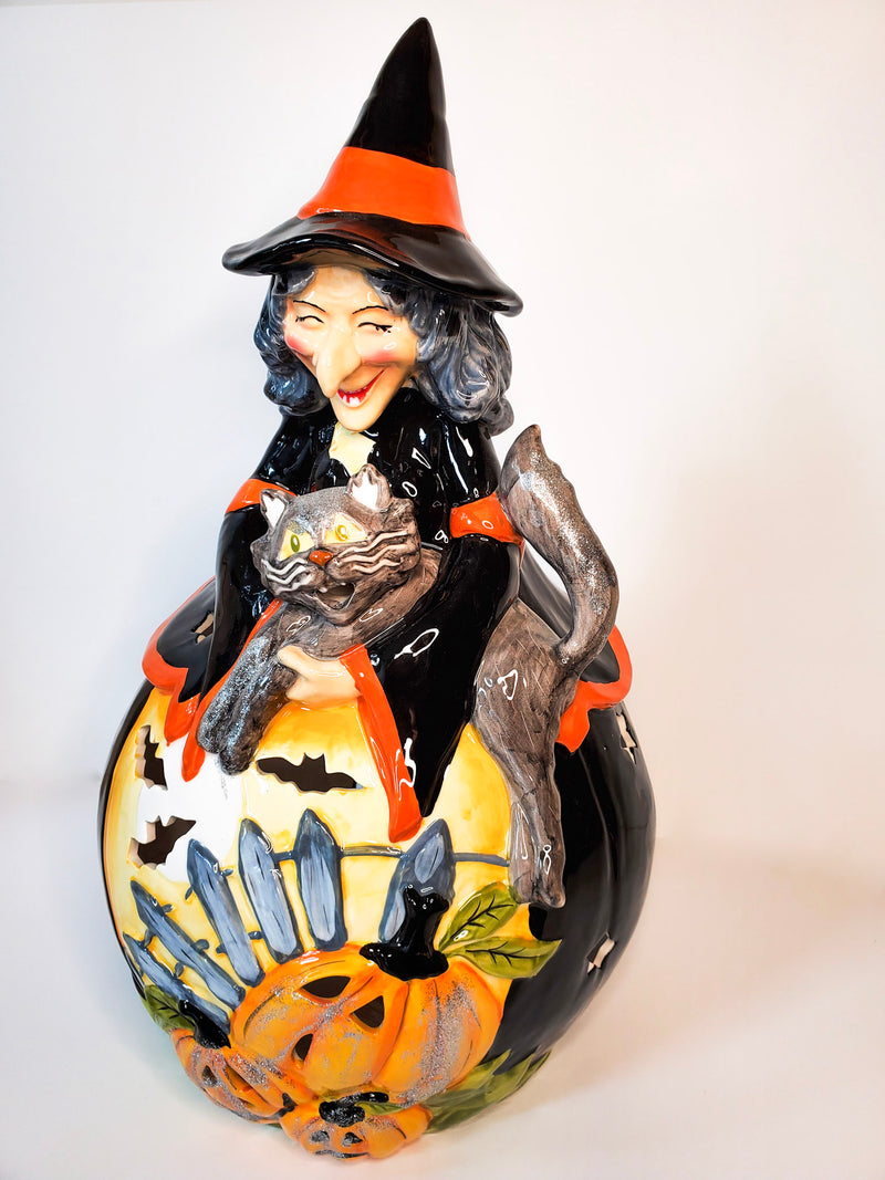Smiling Witch and Cat Tealight Holder